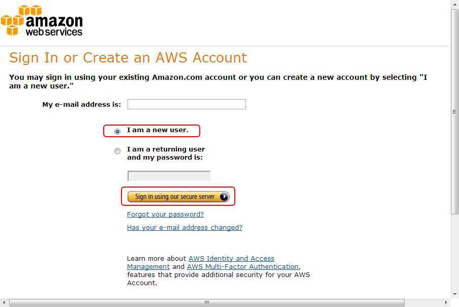 AmazonWebServices ログイン画面
